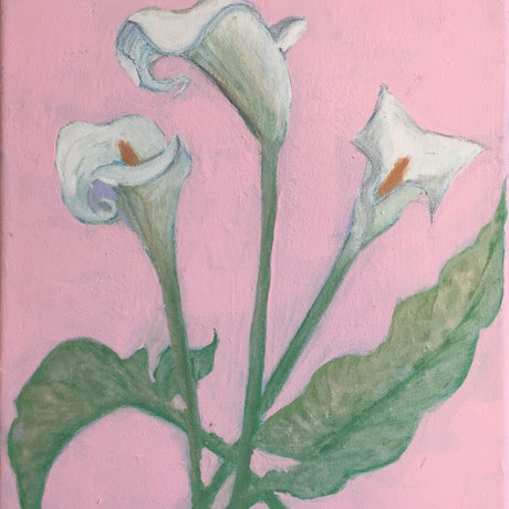 (CreativeWork) Cassa Lilies by Tara Mai. Acrylic Paint. Shop online at Bluethumb.