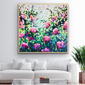 (CreativeWork) Blooming gorgeous pink roses 122x122 framed large abstract  by Sophie Lawrence. acrylic-painting. Shop online at Bluethumb.