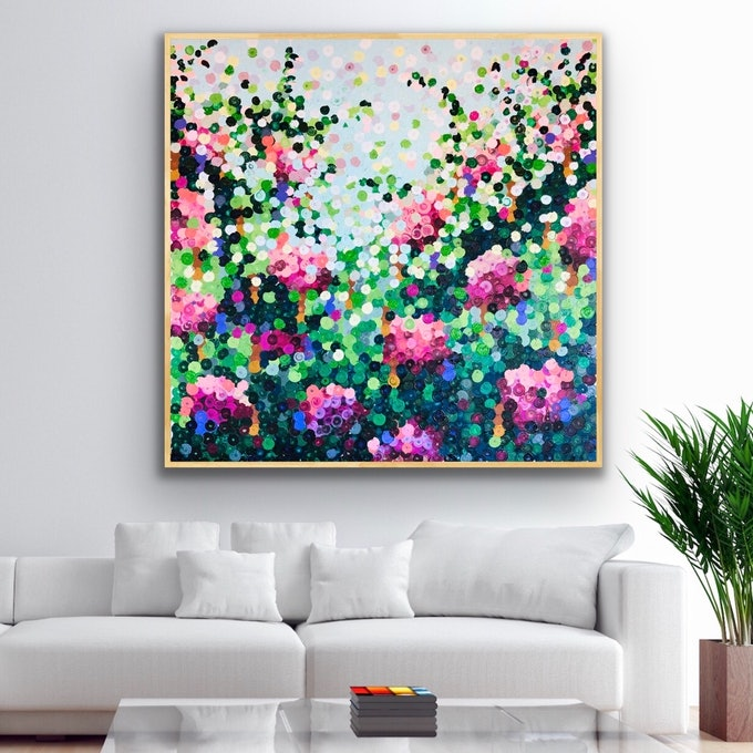 (CreativeWork) Blooming gorgeous 122x122 framed large abstract  by Sophie Lawrence. acrylic-painting. Shop online at Bluethumb.