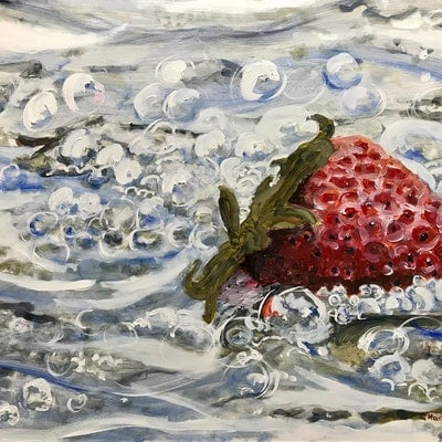 (CreativeWork) Yowie Bay Strawberry by Geoff Hargraves. oil-painting. Shop online at Bluethumb.