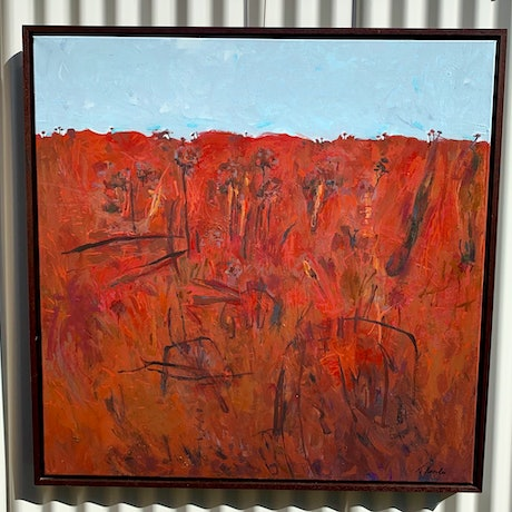 (CreativeWork) Red earth under blue sky  by Tracy Knowles-Sherry. Acrylic Paint. Shop online at Bluethumb.