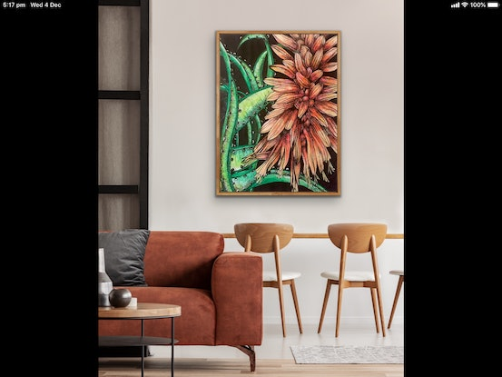 (CreativeWork) Cactus Flower by Tania Daymond. Drawings. Shop online at Bluethumb.