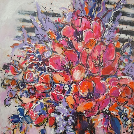 (CreativeWork) PINK FLORAL WITH STRIPES by Bev Harris. Acrylic Paint. Shop online at Bluethumb.