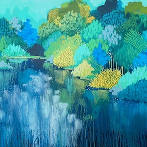 (CreativeWork) Wade in the River by Clair Bremner. acrylic-painting. Shop online at Bluethumb.