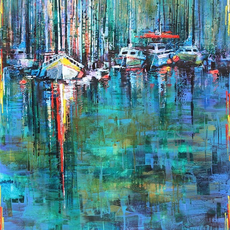 (CreativeWork) Moorings by De Gillett Cox. Acrylic Paint. Shop online at Bluethumb.
