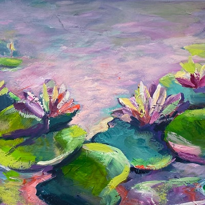 (CreativeWork) Colourful water lilies by Ivana Pinaffo. acrylic-painting. Shop online at Bluethumb.