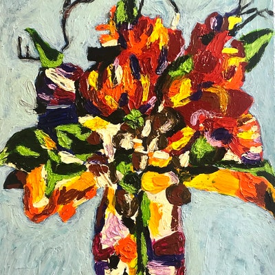 (CreativeWork) Floral arrangement  by Timothy De Guzman. acrylic-painting. Shop online at Bluethumb.