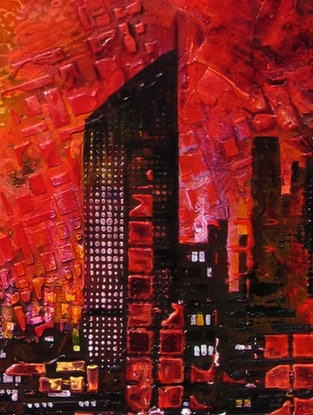 (CreativeWork) Kangaroo Point view by De Gillett Cox. Acrylic Paint. Shop online at Bluethumb.