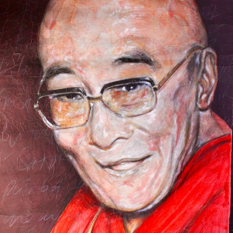 (CreativeWork) Dalai Lama by DEREK ERSKINE. Oil Paint. Shop online at Bluethumb.