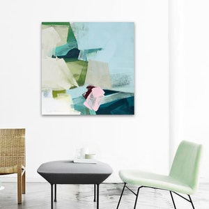 (CreativeWork) Fresca -  blue, green pink square abstract by Stephanie Laine. acrylic-painting. Shop online at Bluethumb.