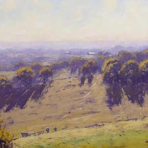 (CreativeWork) Hazy morning Cottles Bridge Vic by Graham Gercken. oil-painting. Shop online at Bluethumb.
