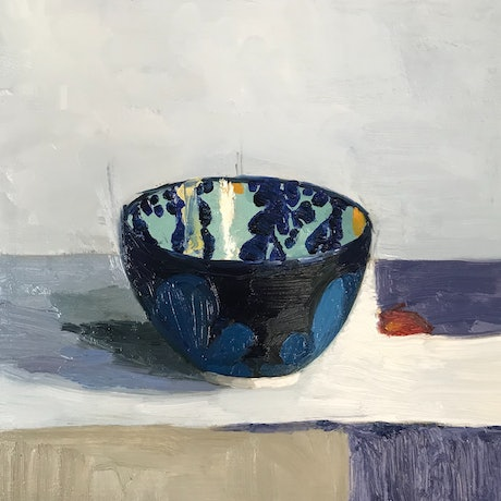 (CreativeWork) Patterned bowl with a cut piece of paper by Jac Reynolds. Oil Paint. Shop online at Bluethumb.