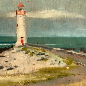 (CreativeWork) Port Fairy Lighthouse by Ray Wilson. oil-painting. Shop online at Bluethumb.