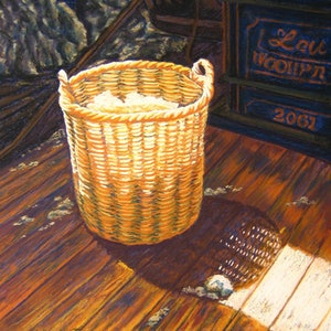 (CreativeWork) Wool Basket by Delma White. drawing. Shop online at Bluethumb.