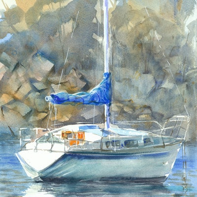 (CreativeWork) Boat in Ulladulla Harbour by Anica Amphlett. watercolour. Shop online at Bluethumb.