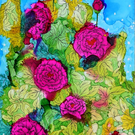 (CreativeWork) Starry Evening with Peonies by Emily Provan. Other Media. Shop online at Bluethumb.