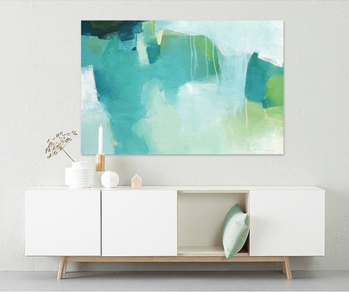 (CreativeWork) Willow -  large blue, green, abstract painting by Stephanie Laine. Acrylic Paint. Shop online at Bluethumb.