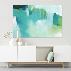 (CreativeWork) Willow -  large blue, green, abstract painting by Stephanie Laine. acrylic-painting. Shop online at Bluethumb.