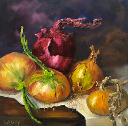 (CreativeWork) Onion Medley by Elizabeth Varley. Oil Paint. Shop online at Bluethumb.