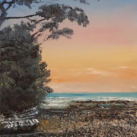 (CreativeWork) Sunset over Orewa Beach by Annmaree Mitchell. Oil Paint. Shop online at Bluethumb.