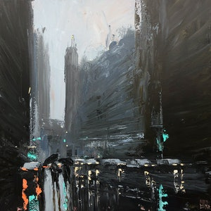 (CreativeWork) Sunday Morning - rainy cityscape is produced with acrylic paint and knife by Mike Barr. acrylic-painting. Shop online at Bluethumb.