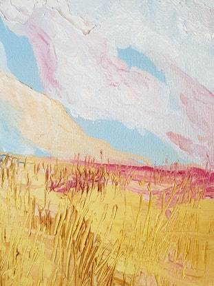 (CreativeWork) The Fields Are Burning by Alison Sherlock. Oil Paint. Shop online at Bluethumb.