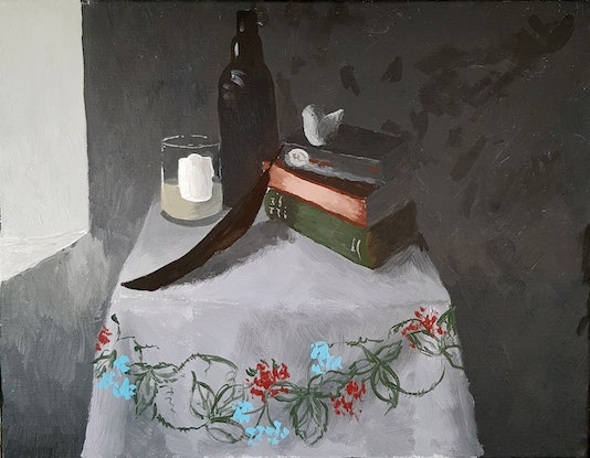 (CreativeWork) 5:37 pm Approaching Dusk Still Life by Alison Sherlock. Acrylic Paint. Shop online at Bluethumb.