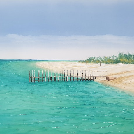 (CreativeWork) Old Jetty at Monkey Mia by Harry Lea. Watercolour Paint. Shop online at Bluethumb.