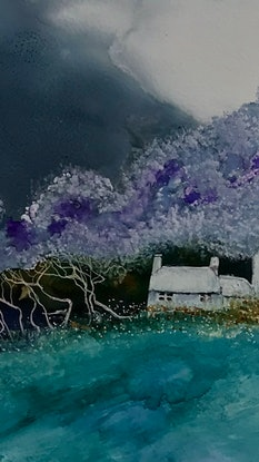 (CreativeWork) Purple Snow by Meg Lewer. Mixed Media. Shop online at Bluethumb.