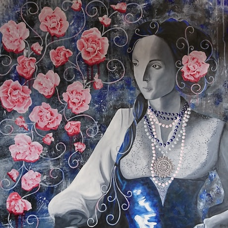 (CreativeWork) Victoria Rose by Kate Hartwig. Mixed Media. Shop online at Bluethumb.