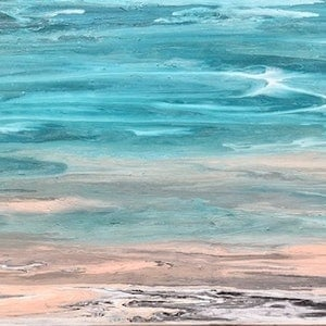 """(CreativeWork) """"Shallows 2"""" Coastal abstract on canvas with texture by Debra Ryan. #<Filter:0x00005648ec42f4b0>. Shop online at Bluethumb."""
