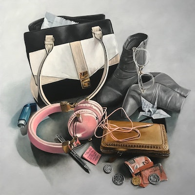 (CreativeWork) Arsenal for Today (grey) by Melissa Ritchie. oil-painting. Shop online at Bluethumb.
