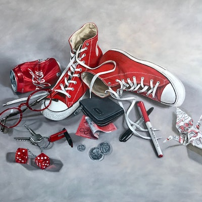 (CreativeWork) Red Cons, Coke and Crap by Melissa Ritchie. oil-painting. Shop online at Bluethumb.