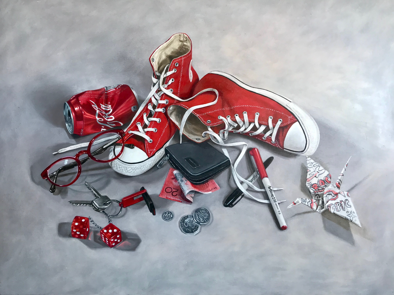 (CreativeWork) Red Cons, Coke and Crap by Melissa Ritchie. Oil Paint. Shop online at Bluethumb.