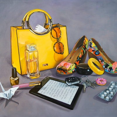 (CreativeWork) Arsenal for Today (gold) by Melissa Ritchie. oil-painting. Shop online at Bluethumb.