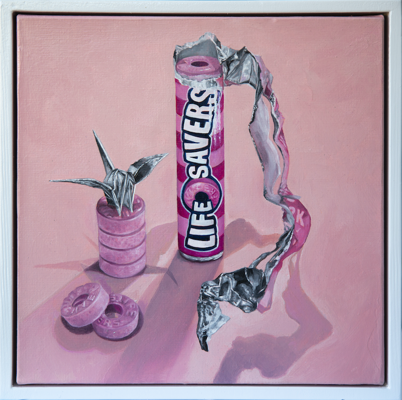 (CreativeWork) Lifesavers on Pink (Musk) by Melissa Ritchie. Oil Paint. Shop online at Bluethumb.