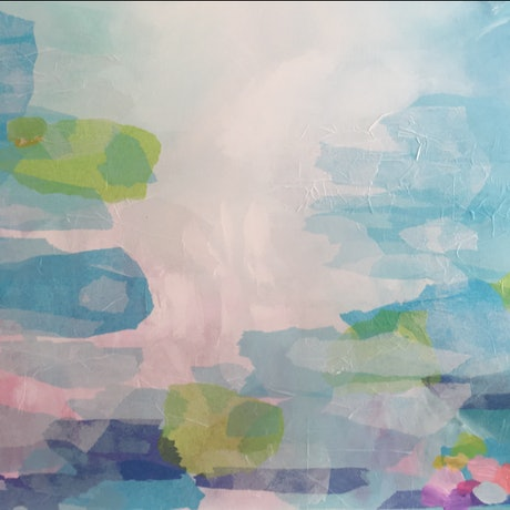(CreativeWork) Floating - Large 122 x 91.5 cm Abstract Original painting ready to hang  by Sandra Jolly. Acrylic Paint. Shop online at Bluethumb.