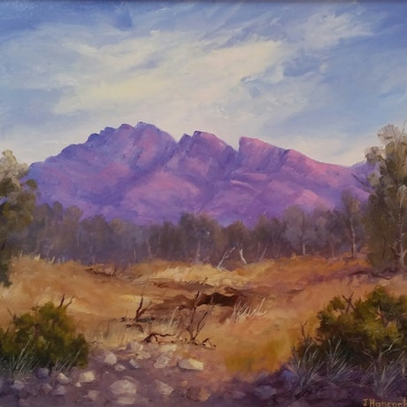 (CreativeWork) Mount Aleck-Flinders Ranges  by Joan Hancock. Oil Paint. Shop online at Bluethumb.