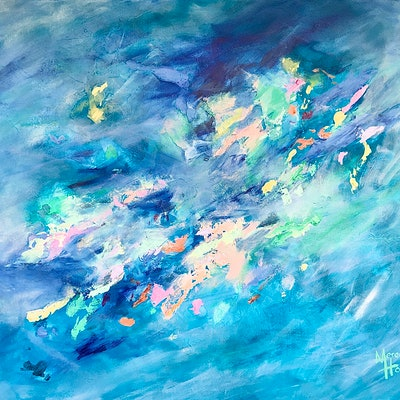 (CreativeWork) Green Opalescent by Meredith Howse. acrylic-painting. Shop online at Bluethumb.