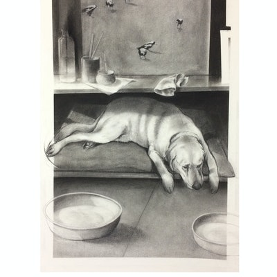 (CreativeWork) dog and landscape -  by Rod BAX. Drawings. Shop online at Bluethumb.