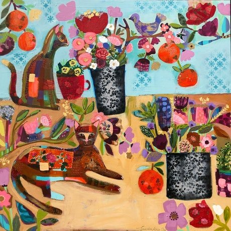 (CreativeWork) Cats & Oranges by Sandra Oost. Mixed Media. Shop online at Bluethumb.