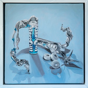 (CreativeWork) Lifesavers on Blue (Pep O Mint) by Melissa Ritchie. Oil Paint. Shop online at Bluethumb.