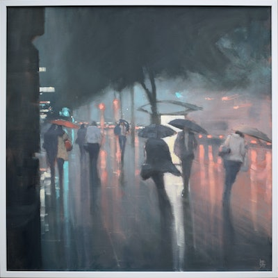 (CreativeWork) King William Street Storm by Mike Barr. Oil Paint. Shop online at Bluethumb.