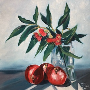 (CreativeWork) Pomegranates and Pilferings by Mia Laing. oil-painting. Shop online at Bluethumb.