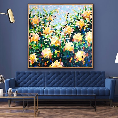 (CreativeWork) Yellow roses 122x122 framed large abstract  by Sophie Lawrence. Acrylic Paint. Shop online at Bluethumb.