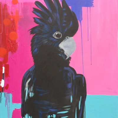 (CreativeWork) The Black Cockatoo Abstracted by Emma Wreyford. acrylic-painting. Shop online at Bluethumb.