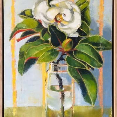 (CreativeWork) Sweet Magnolia  (framed) by kirsty mcintyre. oil-painting. Shop online at Bluethumb.