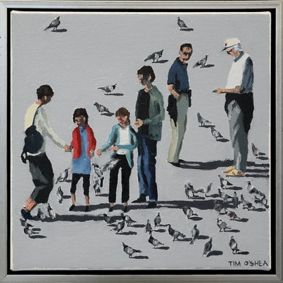 (CreativeWork) Populace by Tim O'Shea. oil-painting. Shop online at Bluethumb.