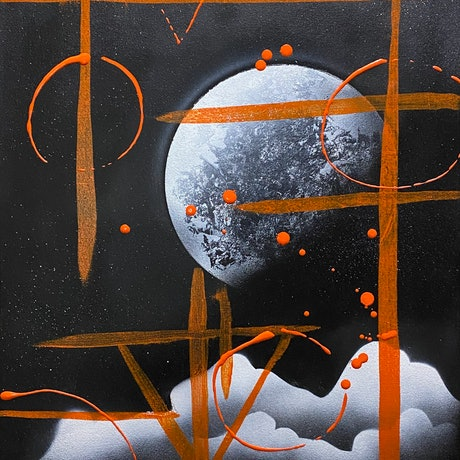 (CreativeWork) Runic Moon by Maux Zachintosh. Acrylic Paint. Shop online at Bluethumb.