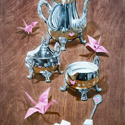 (CreativeWork) Paper Crane Tea Party by Melissa Ritchie. Oil Paint. Shop online at Bluethumb.